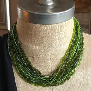 Jewelry - Shades of Seaweed Green Multi Strand Necklace